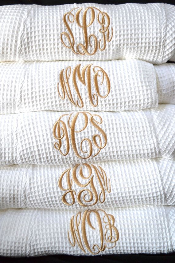 All robe colors listed are in stock--no waiting for orders! Check our Feedback for Confident Ordering! Quality Customer Service with Fast Turnaround Times!!!  Listing is for ONE monogrammed light-weight waffle robe with your choice of single initial, monogram font, or name on front left shoulder. Top Quality Robes--Best in Marketplace 36 inch length One Size Robes Light Weight Waffle Fabric--60% Cotton and 40% Poly for wrinkle free wash and wear 3/4 Length Banded Sleeves--sleeves not jus...