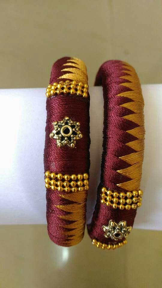 maroon n yellow silk thread bangles
