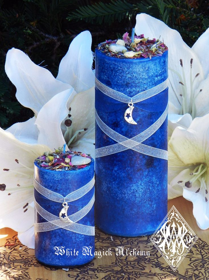 White Magick Alchemy - Blue Moon Celestial Lunar Alchemy Pillar Candles . Full Moon Rites, Esbats, $14.95 (http://www.whitemagickalchemy.com/blue-moon-celestial-lunar-alchemy-pillar-candles-full-moon-rites-esbats/)