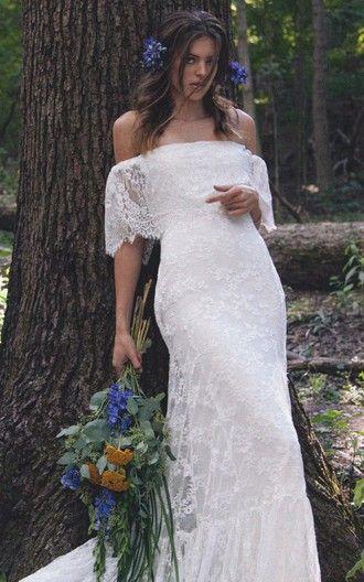 Boho Off Shoulder Sheath Scalloped Lace Wedding Dress With Long Train
