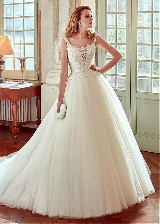 Marvelous Tulle & Organza Scoop Neckline A-Line Wedding Dresses With Lace Appliques