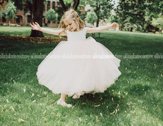 Peach Blush Flower Girl Dress Floor Length