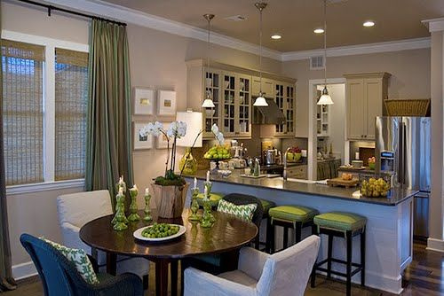 Almost exact layout of the new dining/kitchen. HGTV 2008 green home- love this space - I love the creative use of small spaces.