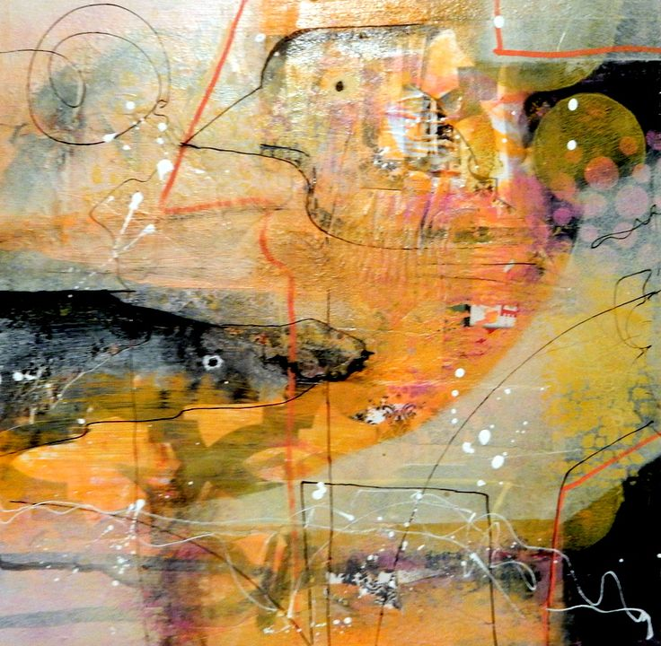 Abstract mixed media painting, art by Jackie Gray. Orange, black, neutrals, warm colors. Collage.