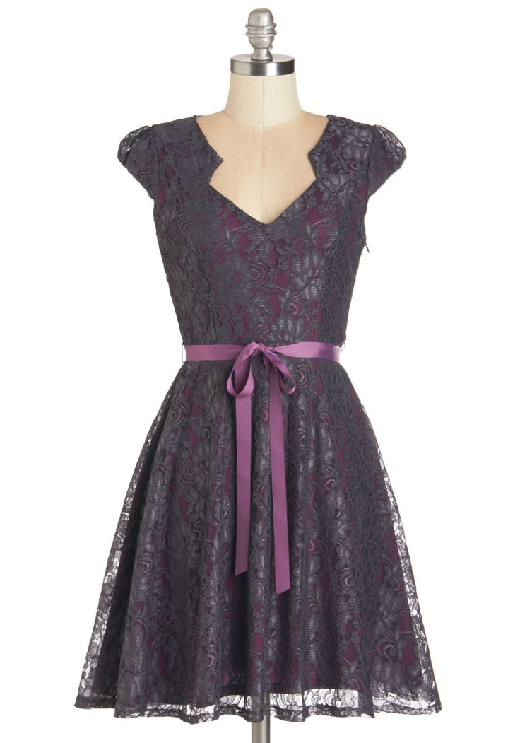 Sweet Staple Dress in Slate - Purple, Grey, Belted, Wedding, Party, Bridesmaid, Homecoming, A-line, Cap Sleeves, Lace, Variation, Short, Lace