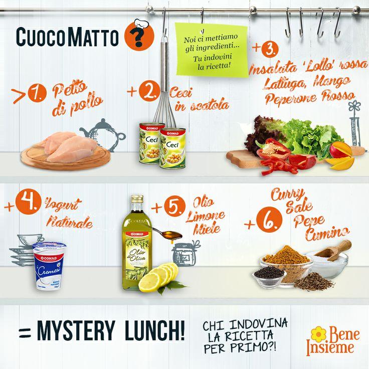 Cosa prepariamo con petto di pollo, ceci in scatola, insalata lolli rossa, peperone, yogurt, olio, limone e spezie al curry? Scoprilo cliccando sulla foto! #ricetta