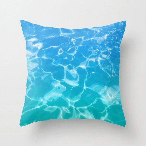 Decoratieve kussen Cover blauw groenblauw water Oceaan beddengoed dekken, zee, zomer, zwembad, aqua, turquoise en abstracte kussensloop, teal beddengoed
