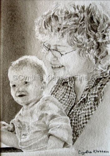Portrait Commission Reading to Alina was painted in sepia watercolor as a grandmother reads to her baby granddaughter. Order commissioned portraits through my website, CynthiaKlassen.com.