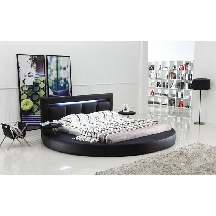 Oslo Round Queen Leatherette Bed with Headboard Lights | Overstock.com Shopping - The Best Deals on Beds