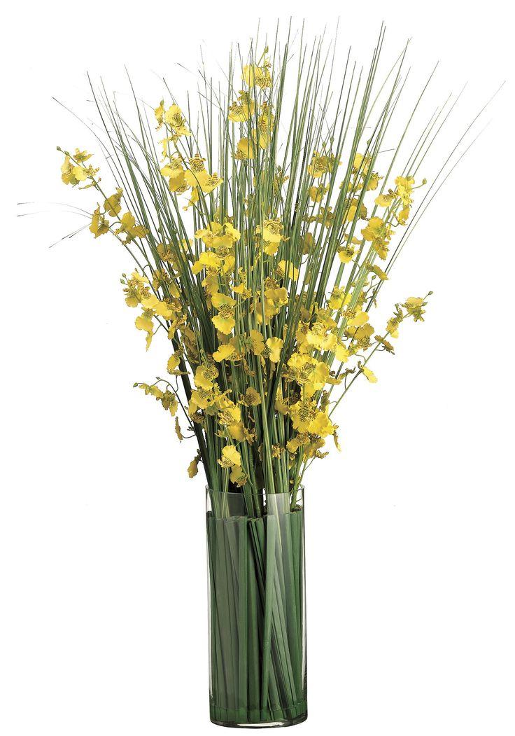 Lifelike Oncidium Orchid & Grasses Floral Arrangement