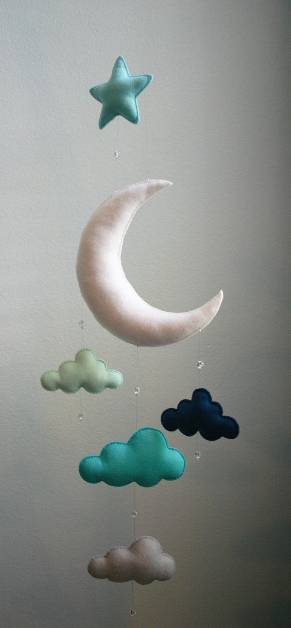 Modern Baby - Mint, Navy, Gray, Moon Felt Mobile with Clouds, Star &…