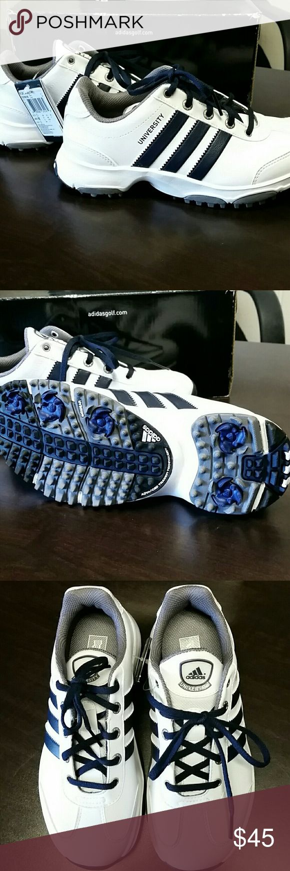 Kids Golf Shoes Brand new kids golf shoes. White & navy. I have 3 sizes available: 1 1/2, 2 1/2, and 3. Adidas Shoes Sneakers