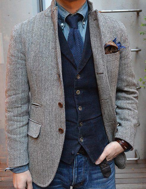 herringbone sport coat, corduroy vest, tie,