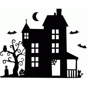 haunted house quilting halloween silhouettes. Black Bedroom Furniture Sets. Home Design Ideas
