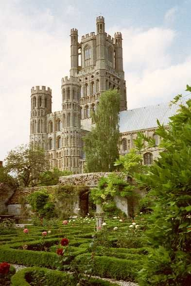 Ely Cathedral from Bishops Garden. Superb building and interesting perspective.