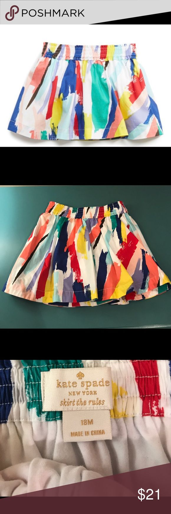 kate spade New York Girls Brushstroke Skirt 18mos A smocked waistband make this fun-loving skirt both comfortable and easy. The artistic brushstroke print adds an adorable pop of color. Excellent Condition; worn once. Fitted attached bloomers; 97% cotton, 3% spandex. kate spade Bottoms Skirts