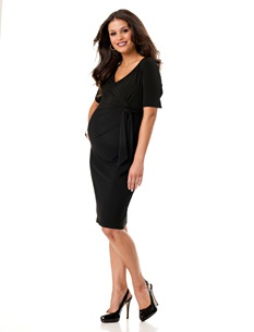 3/4 Sleeve Bow Detail Maternity Dress - $29.99