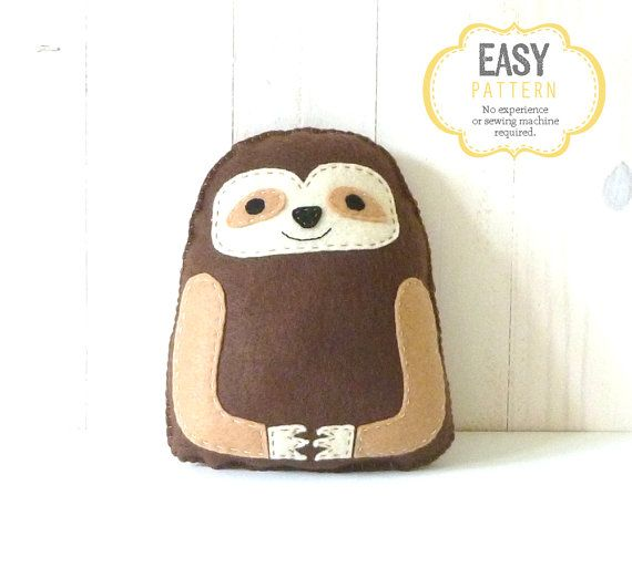 sloth sewing pattern  hand sewing felt sloth softie  instant download pdf  sloth stuffie pattern