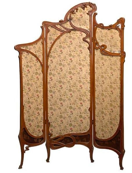 Art Nouveau carved fruitwood, marquetry and inset fabric three-panel screen, ca.1900.