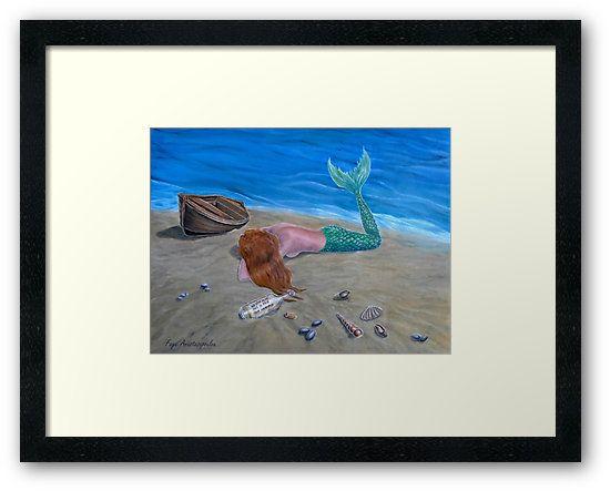 Framed, art print, mermaid,lying,painting,sandy,beach,fantasy,coastal,scene,seascape,ashore,seaside,wooden,boat,message in a bottle, shells, lonely,marine,nautical,nude,feminine,aquatic,creature,tail,fins,mythological,magical,fish,vivid,colorful,aqua,blue,beautiful,cool,contemporary,realistic,figurative,fine,wall,art,images,home,office,decor,artwork,modern,items,ideas,for sale,redbubble