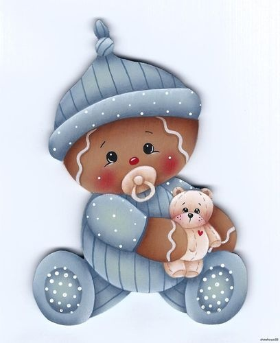 HP GINGERBREAD Baby with Teddy FRIDGE MAGNET