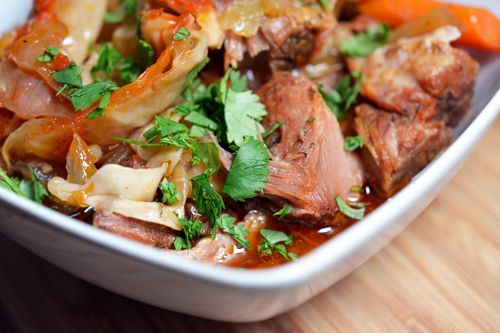 Slow cooker pork stew. So easy! Just dump everything in and turn it on. I've made this so many times and it's always good.