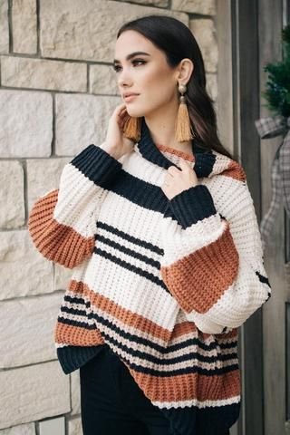 e093f969698 With winter coming the Hidden Cabin Striped Sweater is a great choice for a  cozy at home.