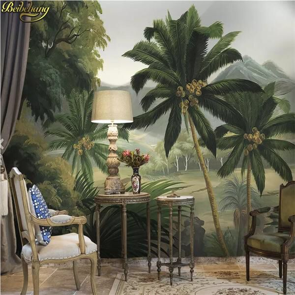 7 91 41 Off Beibehang Custom Palm Tree Forest River Tropical Rainforest Medieval Photo Mural Wallpa Tree Wall Murals Palm Trees Wallpaper Mural Wallpaper #palm #tree #living #room