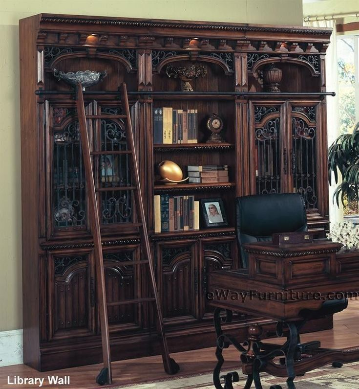 library office furniture. barcelona library bookcase wall w ladder walnut finish home office furniture t