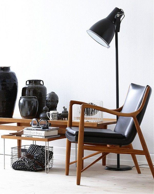 Black and wood: Lamps, Scandinavian Design, Interiors Photography, Wood, Interiors Design, Black White, Danishes Design, Armchairs, Elegant Home Decor