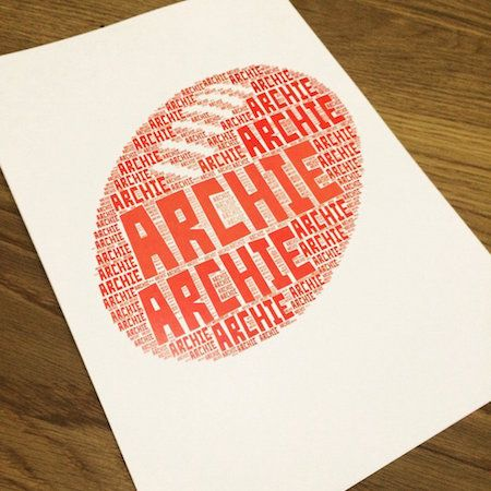 Christmas gifts - personalised name it print - football, kids print, kids room artwork, football print