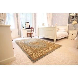 Easily cleaned and stain resistant rug. This rug is an traditional elegant style and has a soft feel. http://www.therughouse.co.uk/traditional-rugs/elegant-powder-blue-victorian-style-rug-1975-westbury.html