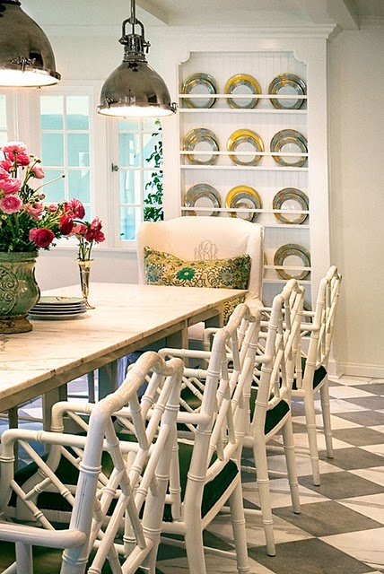 LOVE BAMBOO CHAIRS & MONOGRAMMED CHAIR AT HEAD OF TABLE