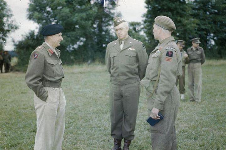 Bernard Montgomery Omar Bradley and Brigadier Alexander Stanier at Montgomery's headquarters in Normandie France 13 July 1944.