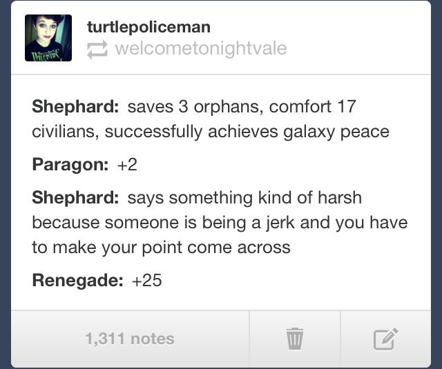 This is it. This is Mass Effect in one text post.