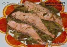 Padellata di carciofi con salmone al vapore