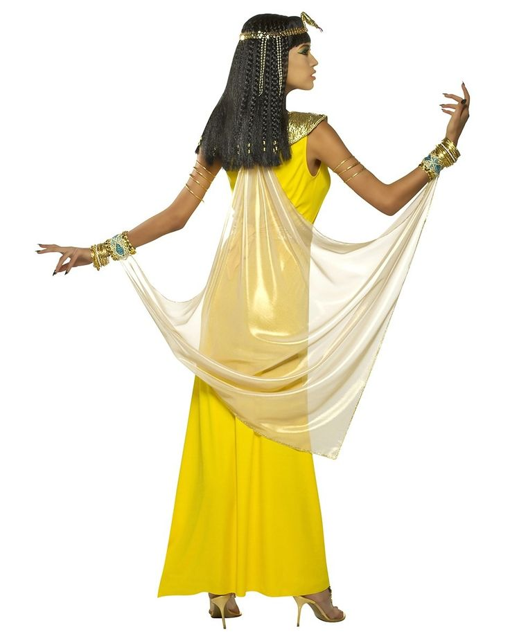 egyptian costumes this beautiful goddess cleopatra costume includes the long yellow dress with attached cape and fancy wrist cuffs belt neckpiece - Spirits Halloween Alexandria La