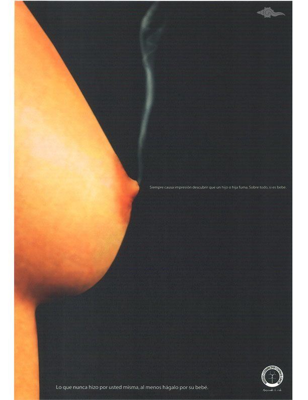 "Título: ""Pezón fumador""; Medio :Revista; País: Costa Rica; Agencia: HWP - Halsband Worldwide Partners; Institución: Instituto Costarricense Contra el Cáncer. Finalista VI Edición, 2005."