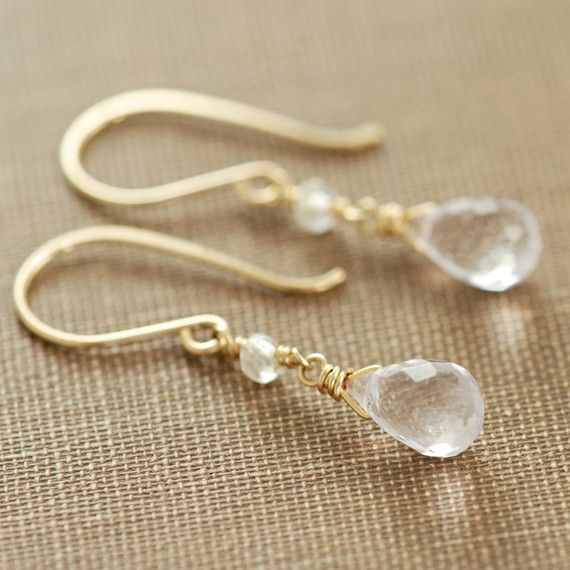 Delicate Pink Amethyst Topaz Drop Earrings Gold by aubepine