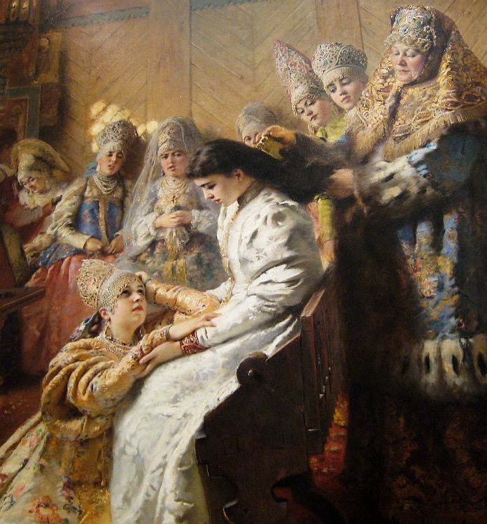 Russian Bride's Attire, 1889 by Konstantin Makovsky (Russian, 1839-1915)