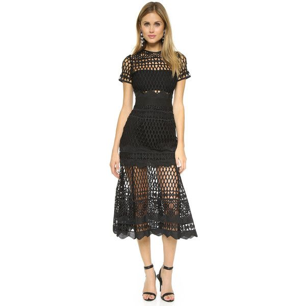 Self Portrait Cutwork Lace Layered Dress ($460) ❤ liked on Polyvore featuring dresses, black, black sheer dress, black midi dress, midi dress, black dress and lace cocktail dress