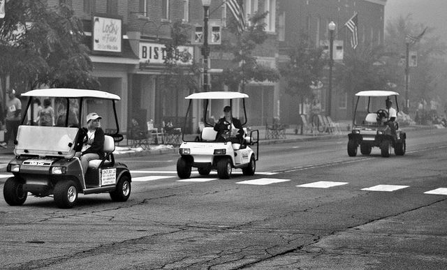 Golf carts from the Valparaiso popcorn festival 2012     Learning how to play golf.