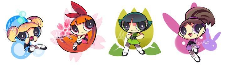 The Powerpuff Girls, Bubbles, Blossom, Buttercup, Bunny.