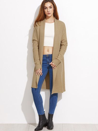 Beige Mixed Knit Shawl Collar Cardigan
