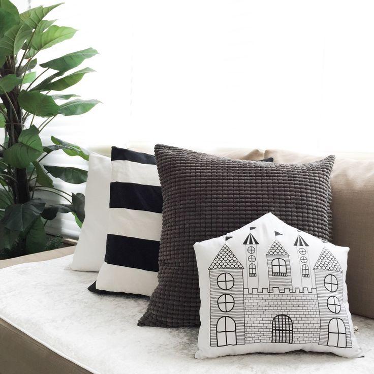 A personal favorite from my Etsy shop https://www.etsy.com/hk-en/listing/236327113/castle-pillow-castle-cushion-monochrome