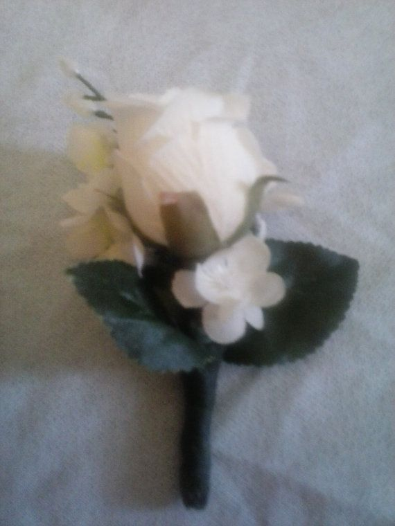 White Rose Boutonniere by BabblingHook on Etsy, $15.00
