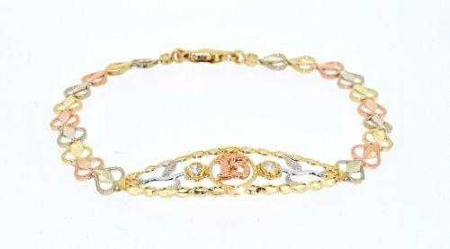 15 Anos Rings: 14K Tricolor Gold Sweet 15 Bracelet