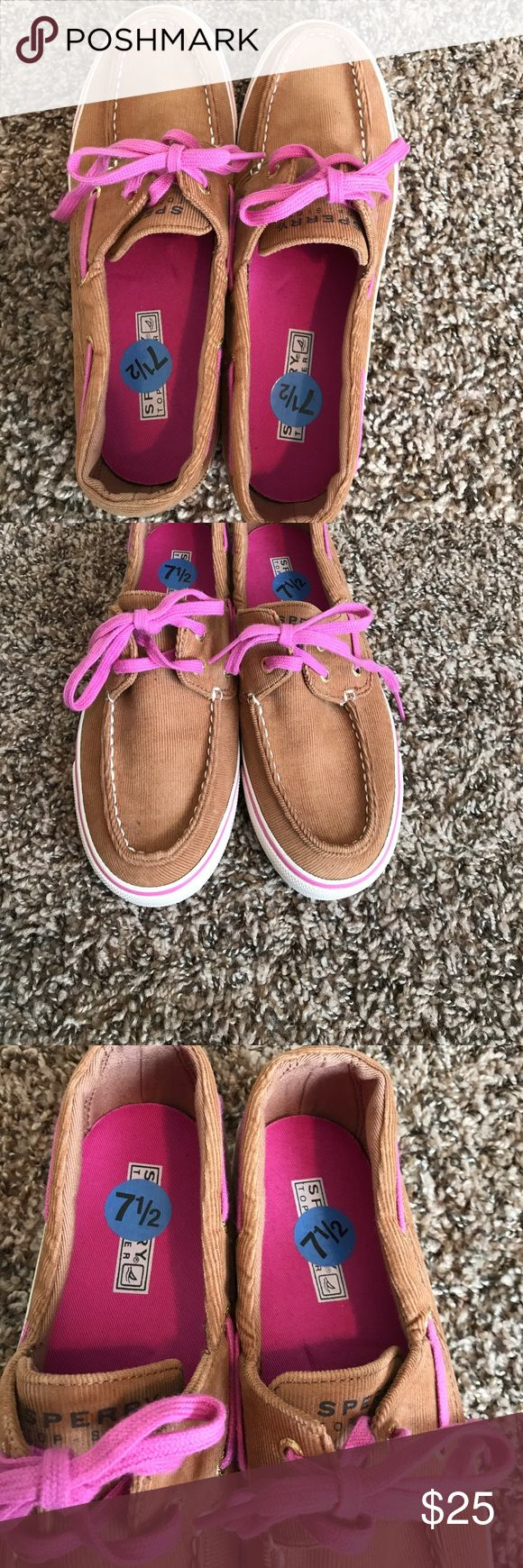 Sperry Top Sider shoes Tan corduroy shoes with pink laces! Never worn!!!! Shoes Flats & Loafers