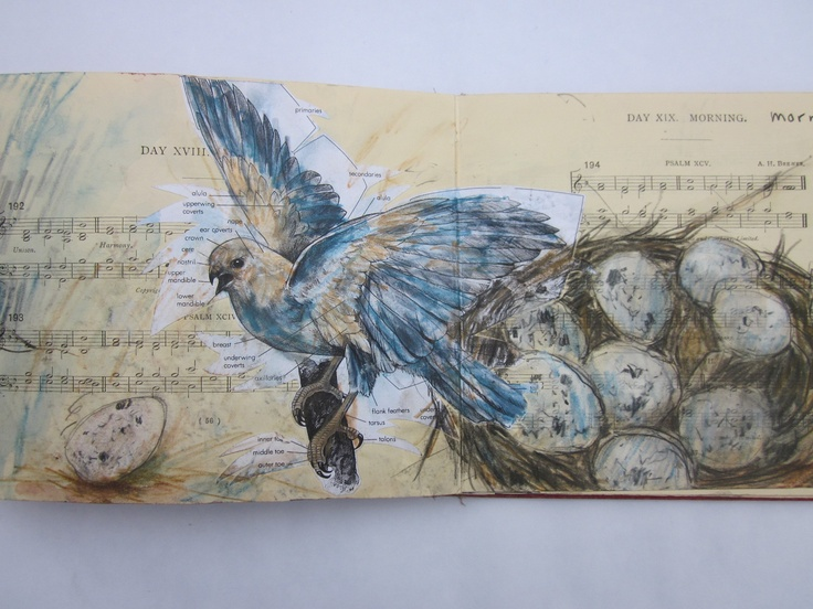 Mixed media collage and drawing page