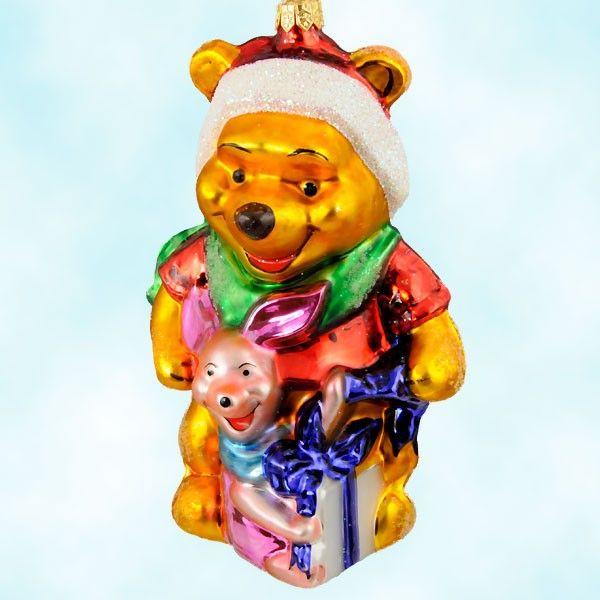 Christopher Radko Christmas Ornaments, Best Friends - Disney, 1996, 96-DIS-10, Ltd 10000, Winnie The Pooh & Piglet, Mint with Tag, Box